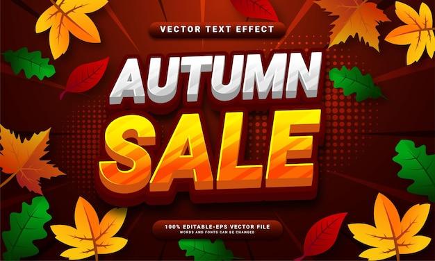 Effet de texte modifiable en 3d de la vente d'automne adapté aux ventes promotionnelles avec des événements sur le thème de l'automne