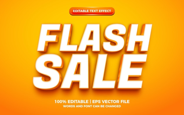 Effet de texte modifiable en 3d de vente flash orange