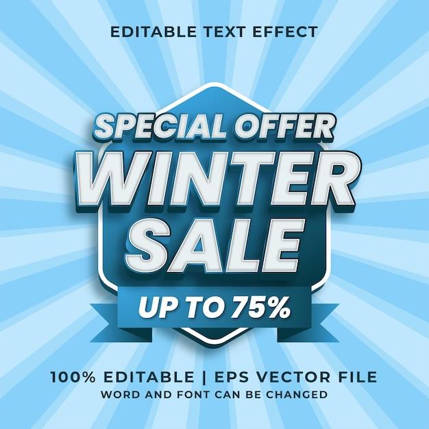 Effet de texte modifiable 3d de vente d'hiver vecteur premium