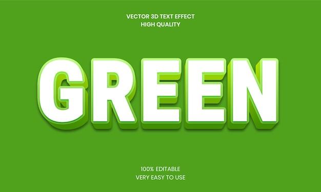 Effet de texte modifiable 3d vert vecteur premium