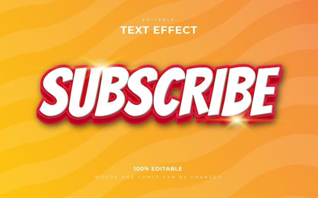 Effet de texte modifiable abonnez-vous en 3d pour votre bannière web