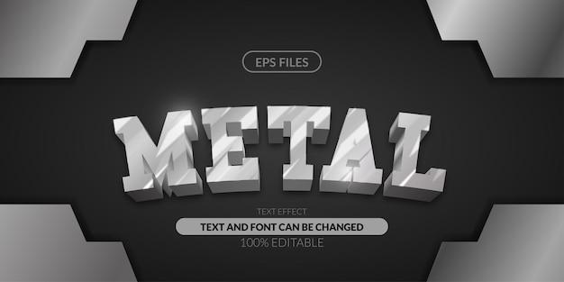 Effet de texte modifiable en acier métallique 3d.