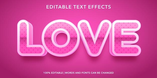 Effet de texte modifiable d'amour rose