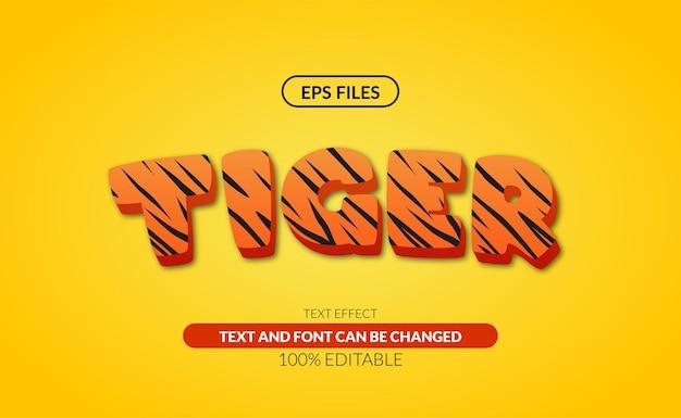 Effet de texte modifiable animal tigre de la vie sauvage.