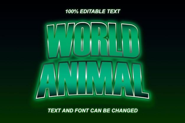 Effet de texte modifiable des animaux du monde style moderne