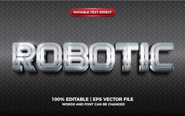 Effet de texte modifiable en argent métallique brillant 3d robotique