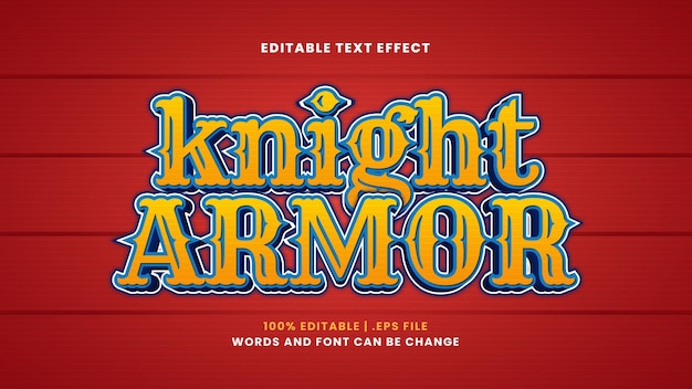 Effet de texte modifiable d'armure de chevalier dans un style 3d moderne