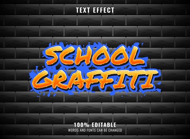 Effet de texte modifiable d'art de graffiti d'école