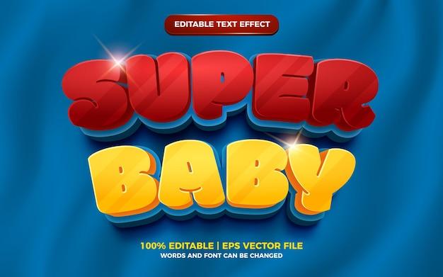 Effet de texte modifiable audacieux super bébé dessin animé 3d
