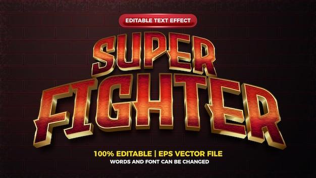 Effet de texte modifiable audacieux super combattant