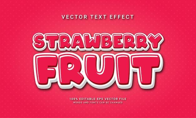 Effet de texte modifiable aux fraises avec le thème des fruits frais