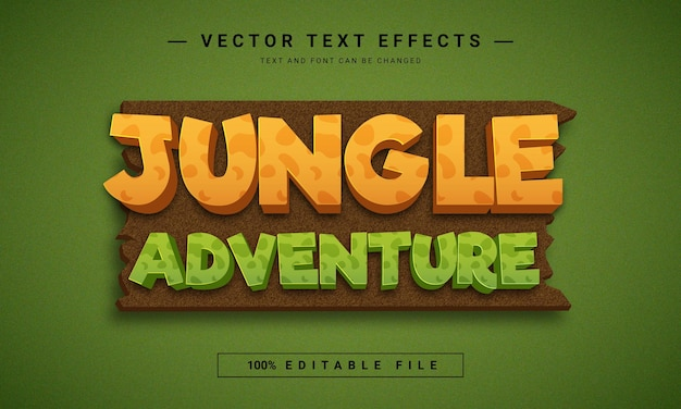 Effet de texte modifiable d'aventure dans la jungle
