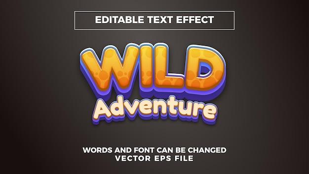 Effet de texte modifiable d'aventure sauvage