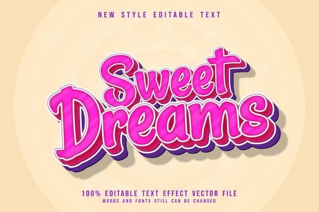 Effet de texte modifiable de beaux rêves en 3 dimensions, style mignon en relief