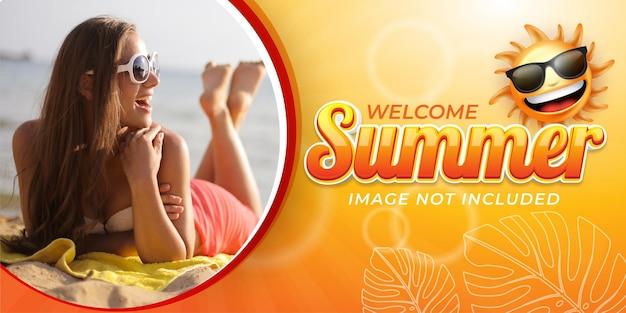 Effet de texte modifiable, bienvenue aux illustrations de style bannière d'été