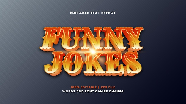 Effet de texte modifiable de blagues drôles dans un style 3d moderne