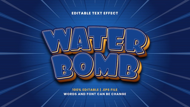 Effet de texte modifiable de bombe à eau dans un style 3d moderne