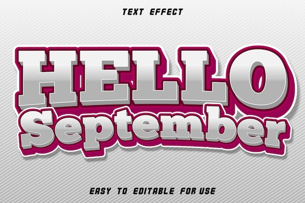Effet de texte modifiable bonjour septembre blanc