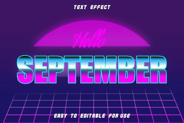 Effet de texte modifiable bonjour septembre retro