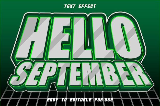 Effet de texte modifiable bonjour septembre zombie blanc
