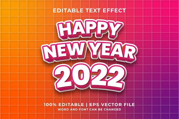 Effet de texte modifiable - bonne année 2022 vecteur premium de style de modèle 3d