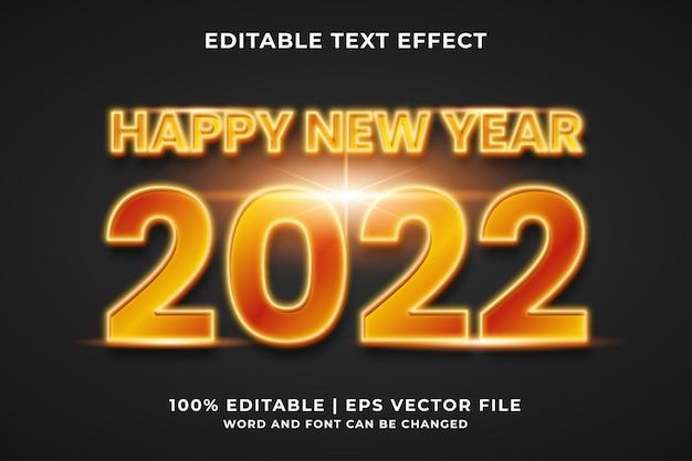 Effet de texte modifiable - bonne année 2022 vecteur premium de style de modèle