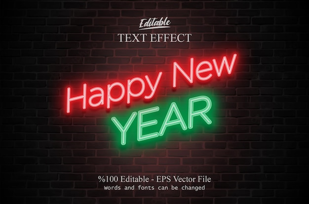 Effet de texte modifiable de bonne année