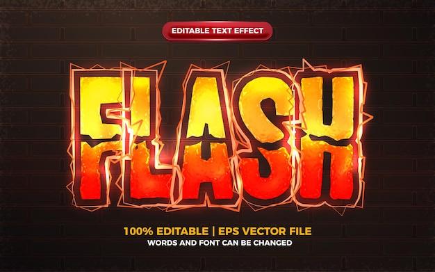 Effet de texte modifiable de boulon électrique orange flash