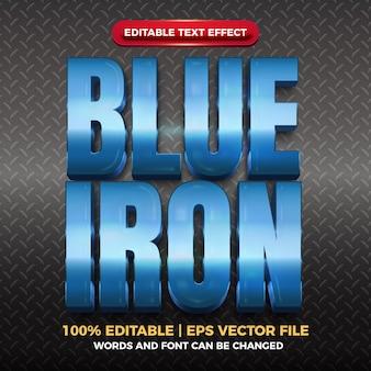 Effet de texte modifiable brillant en fer bleu