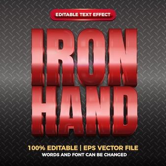 Effet de texte modifiable brillant d'or rouge de main de fer