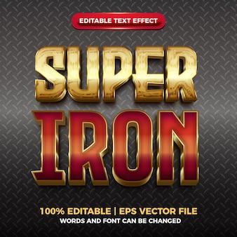 Effet de texte modifiable brillant en or rouge super fer