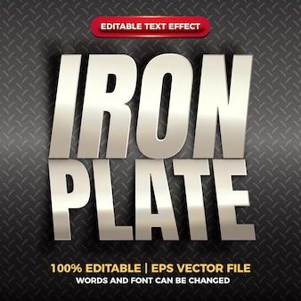 Effet de texte modifiable brillant de plaque de fer découpée