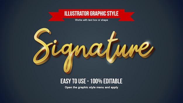 Effet de texte modifiable de calligraphie dorée de luxe 3d