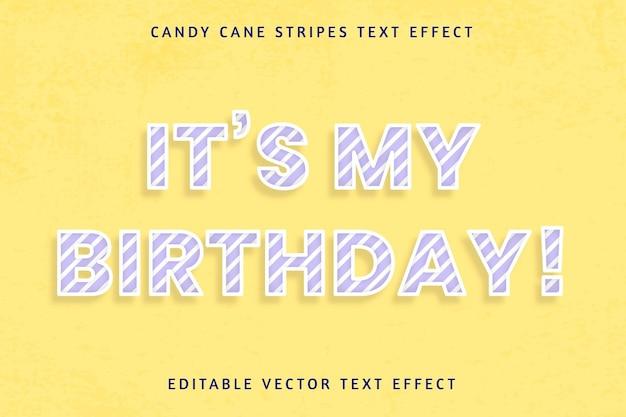 Effet de texte modifiable de canne en bonbon d'anniversaire festif