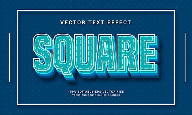 Effet de texte modifiable carré avec thème de forme