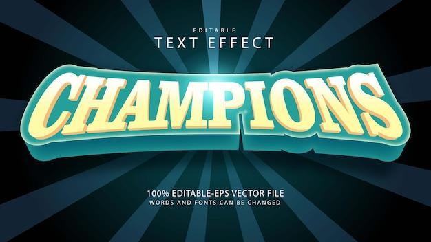 Effet de texte modifiable des champions