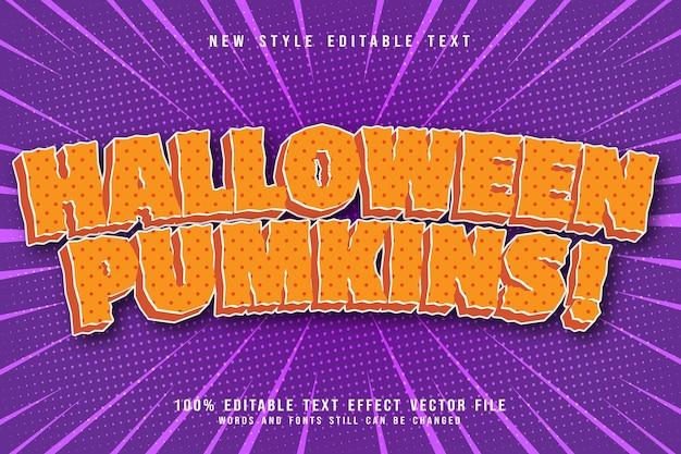 Effet de texte modifiable de citrouilles d'halloween en relief de style moderne