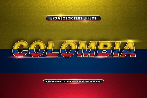 Effet de texte modifiable - colombie avec son drapeau national