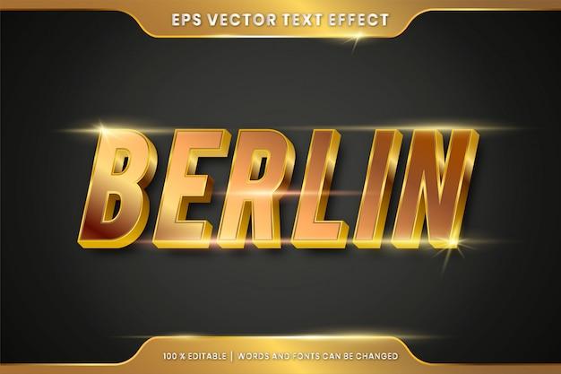 Effet de texte modifiable - concept de maquette de style de texte or berlin