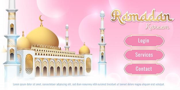 Effet de texte modifiable de conception de bannière de mosquée