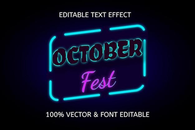 Effet de texte modifiable couleur bleu violet de la fête d'octobre