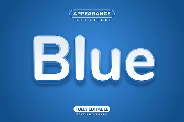 Effet de texte modifiable couleur bleue apparence marine