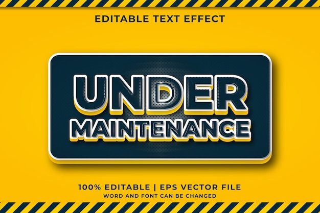 Effet de texte modifiable - en cours de maintenance style de modèle 3d vecteur premium