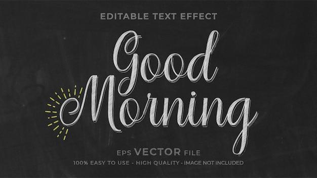 Effet de texte modifiable de craie good morning