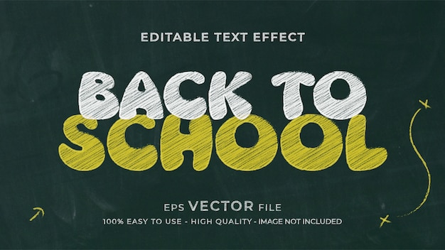 Effet de texte modifiable à la craie de retour à l'école