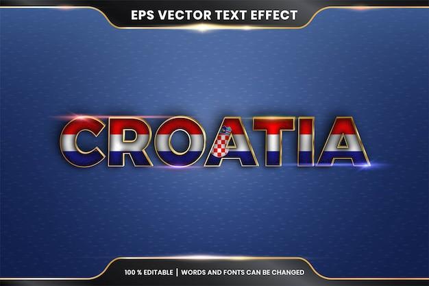 Effet de texte modifiable - croatie avec son drapeau national