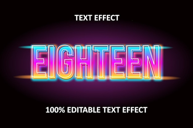 Effet de texte modifiable cyan neon