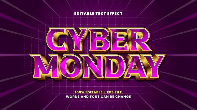 Effet de texte modifiable cyber monday dans un style 3d moderne