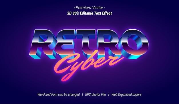 Effet de texte modifiable cyber rétro 3d