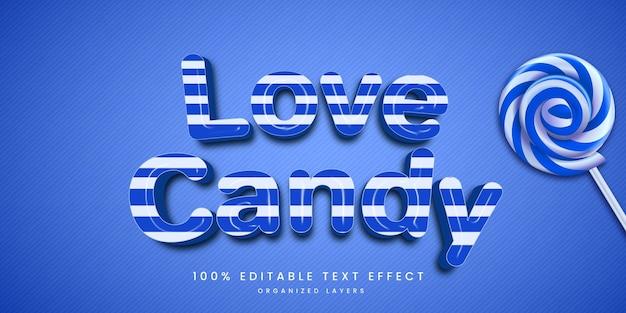 Effet de texte modifiable dans la prime de style de bonbons d'amour